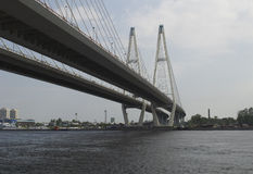 The Big Obukhovsky bridge. Over Neva river in Saint-Petersburg, Russia stock photos
