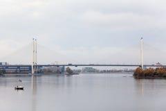 Big Obukhovsky bridge across Neva river in St. Petersburg, Russia. Big Obukhovsky bridge across Neva river in Saint-Petersburg, Russia stock images