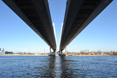 Big Obukhovsky Bridge in St.Petersburg. Big Obukhovsky Bridge in St.Petersburg at sunny spring day, Russia royalty free stock images