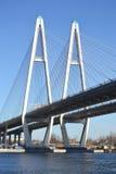 Big Obukhovsky Bridge in St.Petersburg. Big Obukhovsky Bridge in St.Petersburg at sunny spring day, Russia stock photo
