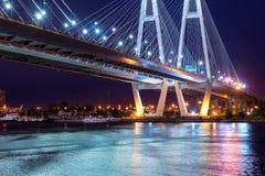 Big Obukhovsky cable-stayed bridge, Neva river. Big Obukhovsky bridge. Cable-stayed fixed bridge across Neva river in St. Petersburg. One of longest road bridges stock image