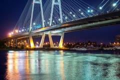 Big Obukhovsky cable-stayed bridge, Neva river. Big Obukhovsky bridge. Cable-stayed fixed bridge across Neva river in St. Petersburg. One of longest road bridges royalty free stock image