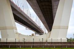 Big Obukhovsky cable-stayed bridge, St. Petersburg. Big Obukhovsky bridge. Cable-stayed fixed bridge across Neva river in St. Petersburg. One of longest road stock photos