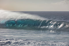 Big ocean wave in beautiful light. Blue ocean wave closing in line Stock Photography