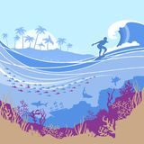 Big ocean wave and tropical island on Vector blue background wit. H surfer.Seascape illustration vector illustration