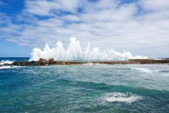 Big ocean waves breaking on the natural pool. Bajamar, Tenerife, Canary Islands, Spain. Stock Photography