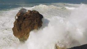 Big Ocean Waves Breaking on Rock stock video footage