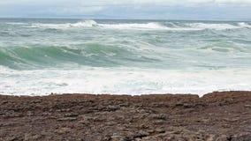 Big Ocean Waves Breaking on Rocks stock video