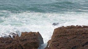 Big Ocean Waves Breaking on Rocks stock video footage