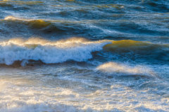 Big ocean waves glowing in sunset. Royalty Free Stock Photography