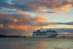 Big oceanic ship calling at Yalta port at fall season Royalty Free Stock Photos
