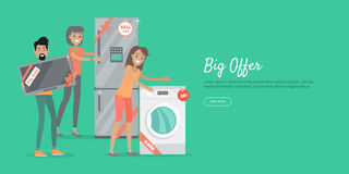 Big Offer in Electronics Store Vector Web Banner Royalty Free Stock Photos