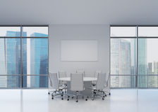 Big office with table. And charts, 3d render Royalty Free Stock Photo