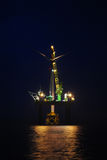 Big Offshore wind park by night Stock Image