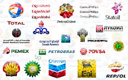Big Oil. Illustration of the largest private and state-owned oil companies: BP plc, Chevron Corporation, ExxonMobil Corporation, Royal Dutch Shell plc, Total S.A