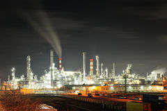 Big oil refinery in night Royalty Free Stock Photo