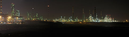 Big oil refinery at night Stock Photos