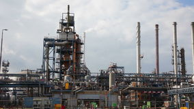 Big oil refinery, Rotterdam stock video footage