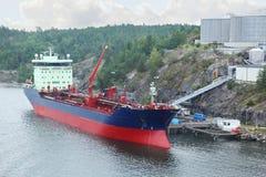Big oil tanker with crane Stock Photos
