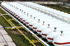 Big oil tanks in a refinery Royalty Free Stock Photo