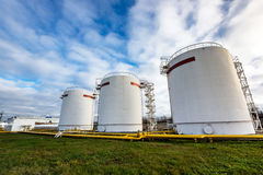 Big oil tanks in a refinery Stock Photography