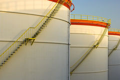 Big oil tanks in a row Stock Photos
