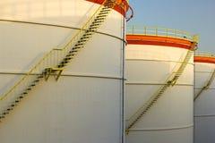 Big oil tanks in a row stock photos