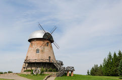 Big old brick mill with stairs on the summer time Royalty Free Stock Photos