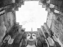 Big old Buddha  in Thailand black and white color Stock Photography