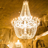 Big old chandelier. In the main hall of Wieliczka Salt Mine Stock Photography