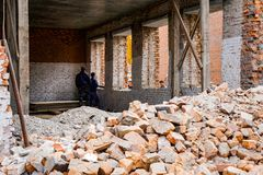 House under construction, brickwork, construction stock photography