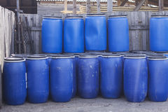 Big old plastic barrels Royalty Free Stock Image
