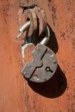 Big old rusted padlock Stock Photo