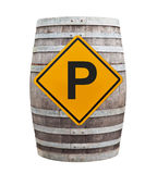Big old wine barrel with traffic sign Royalty Free Stock Image