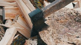 Big old wooden ax chops down tree trunks on the background of a cut log stock footage