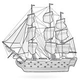Big old wooden historical sailing wire boat on white. With sails, mast, brown deck, guns Stock Photos