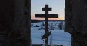 Big old wooden orthodox cross.  stock video footage