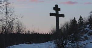 Big old wooden orthodox cross.  stock footage