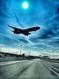 The big one. A big cargo jet landing stock photos
