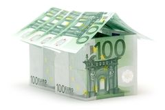 Big One Hundred Euro House. Big house built of several one hundred euro bills. Isolated on white background Stock Photo