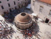 Big Onofrio Fountain. DUBROVNIK, CROATIA - JULY 17: The summer season starts and thousands of tourist visit the Big Onofrio Fountain, July 17, 2011 in Dubrovnik Royalty Free Stock Image