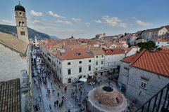 Big Onofrio`s fountain and Stradun view from the walls. Dubrovnik. Croatia Royalty Free Stock Photo