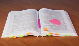 Big open book with bookmarks Stock Image