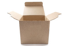 Big open cardboard box on isolated white background with shadow royalty free stock photos