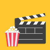 Big open clapper board Popcorn Cinema Movie icon sign symbol set. Red white lined box. Flat design style. Yellow background. Vector illustration Stock Photography