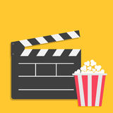 Big open clapper board Popcorn Cinema red white lined box icon set. Flat design style. Yellow background. Vector illustration Royalty Free Stock Image