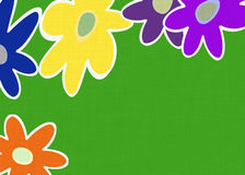 Big open flowers pattern on green fabric backgrounds Royalty Free Stock Images