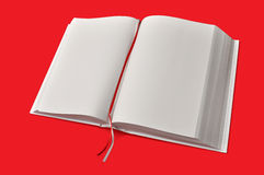 Big opened white book on red plate. Big opened white book on simply red table Royalty Free Stock Photography