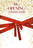 Big opening coming soon vector illustration with gold star and red long ribbon Royalty Free Stock Photo