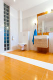 Big orange bathroom at new house Stock Photos